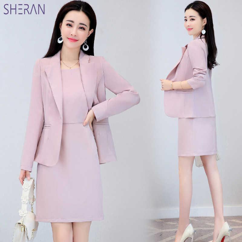 SHERAN 2018 ビジネススーツエレガントなオフィスドレスプロの女性 2 ピースセット長袖ブレザーやノースリーブのドレススーツセット