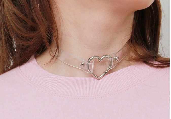 חדש האופנה פאנק תכשיטי מתוק לב שרשרת, ברור שקוף עור מפוצל קולר פאנק גותיקה 100% בעבודת יד צווארון שרשרת