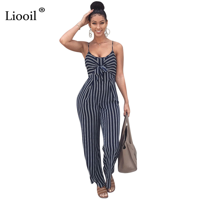 a581b7a4286c Liooil Striped Romper Sexy Spaghetti Strap Wide Leg Jumpsuit Sleeveless O  Neck Backless Women Rompers Bow Casual Jumpsuits