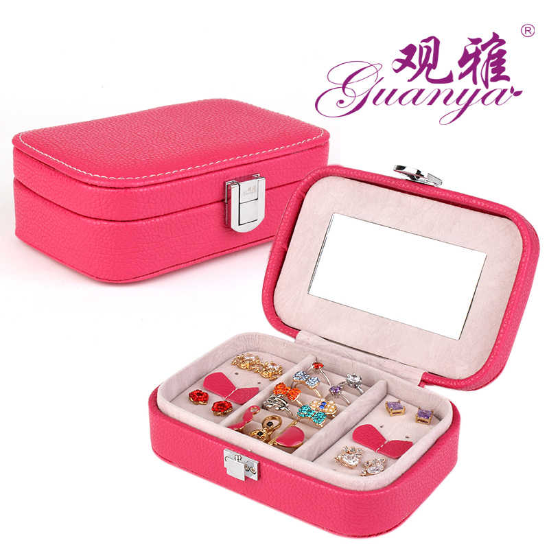 B Portable Square Jewelry Carrying Cases Organizer Travel Storage Box Leather Dressing Case Gift