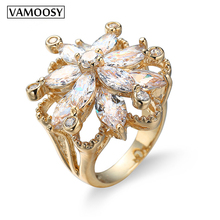 VAMOOSY 2018 Fashion shiny Flash Zircon Ring Rose Gold Color Made with Austrian Crystals wedding rings Wholesale Top quality zhouyang top quality zyh147 simple and noble rose gold color bracelet jewelry austrian crystals wholesale