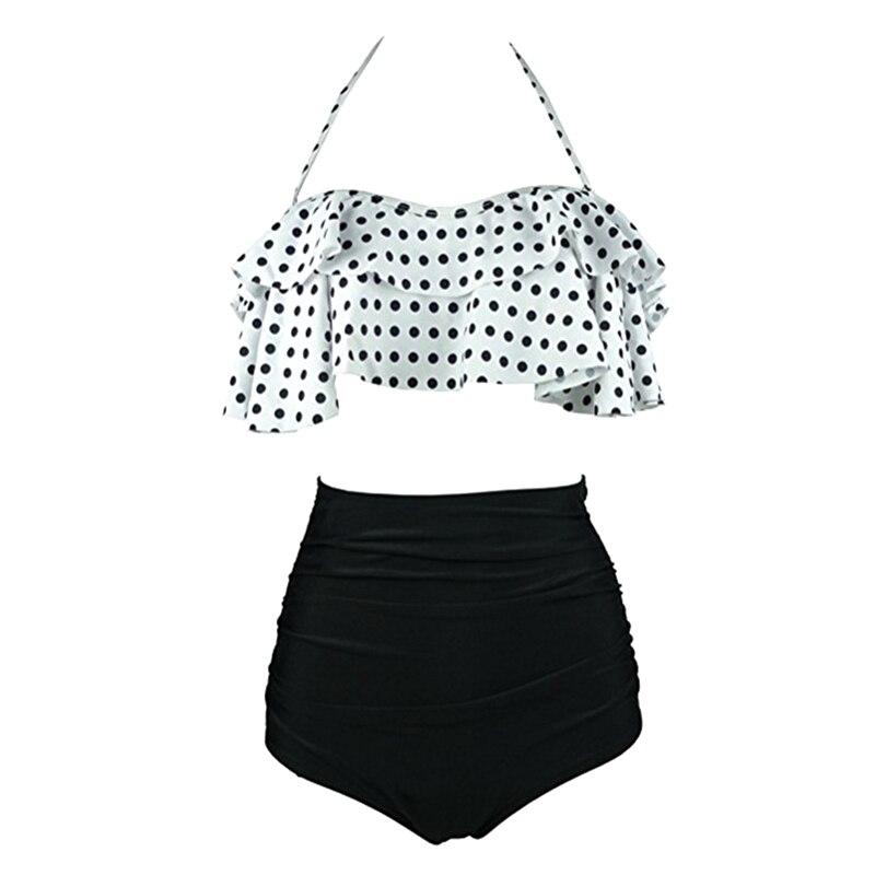 Sexy Women High Waist Swimsuit Halter Bikinis Set Swimwear Ruffle Bandeau Bottom Bathing Suit YS-BUY 4