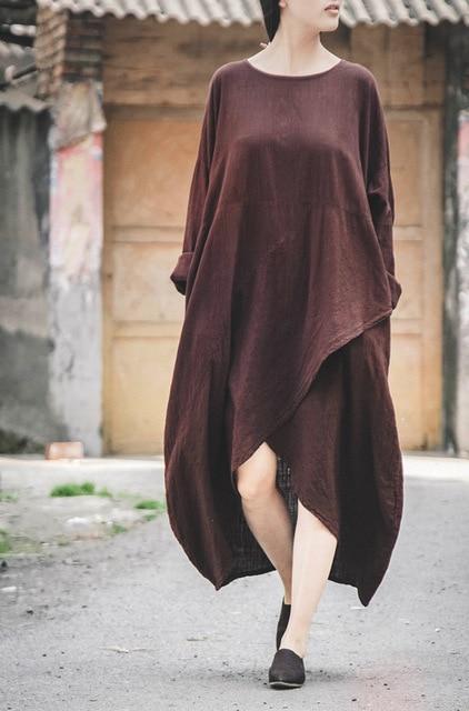 96a2a8625e Women Retro Long Sleeve O-neck Cotton Linen Dress Mori Girl Casual  Irregular Loose Dress Tunique Vestido Boho Robe Courte Femme