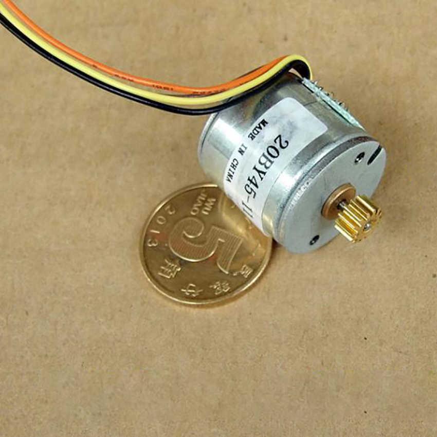 Motor deslizante da impressora da foto do quatro-fio bifásico com engrenagem de cobre dc 6 v 20by45 ângulo da etapa do eixo de saída 1.45mm 18 graus