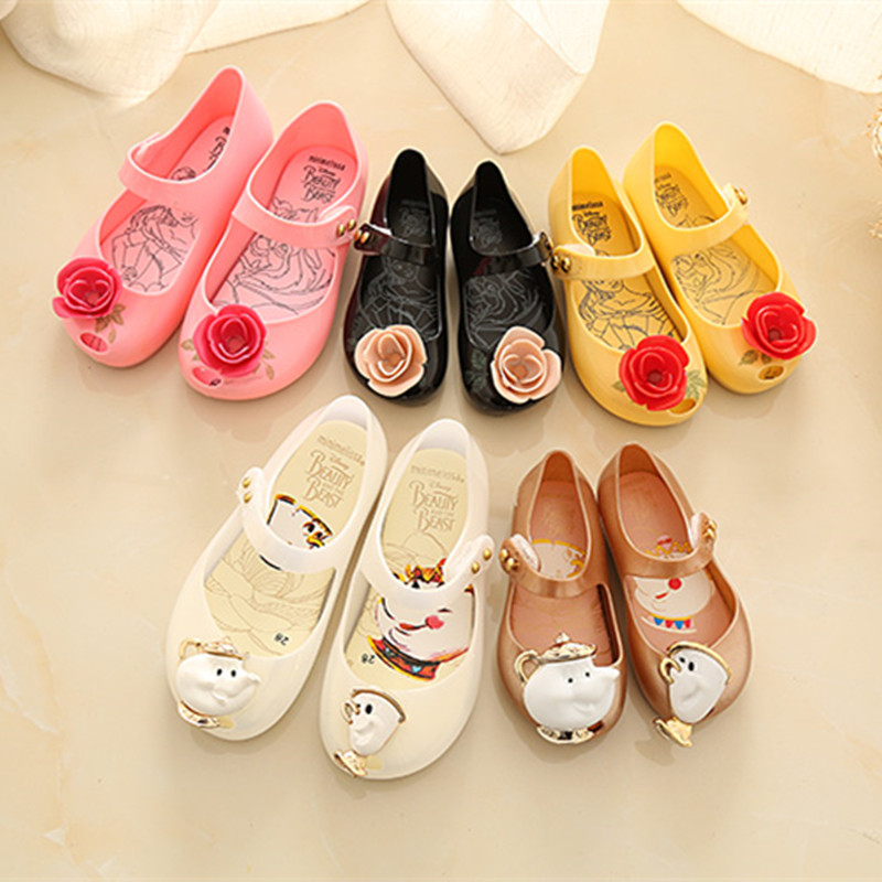 Girls Sandals Summer Beauty Beast Mini Melissa Girls Shoes Jelly Sandals Princess Shoes Non-slip Girls Shoes  Jelly Shoes