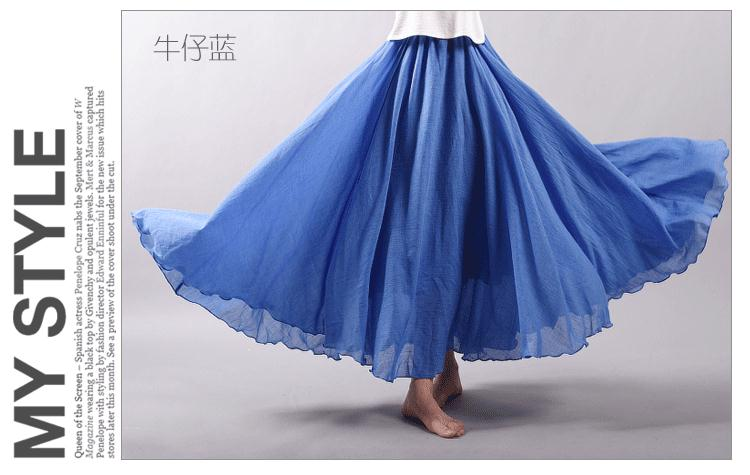 Sherhure 19 Women Linen Cotton Long Skirts Elastic Waist Pleated Maxi Skirts Beach Boho Vintage Summer Skirts Faldas Saia 35