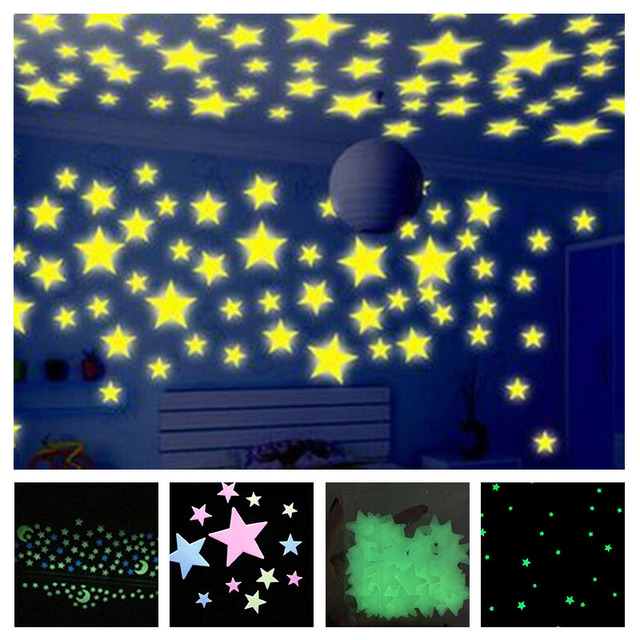 b6f270cd2b 100pcs 3D Stars Wall Stickers Decal Glow In The Dark Baby Kids Bedroom Home  Decor Color Stars Luminous Fluorescent Wall