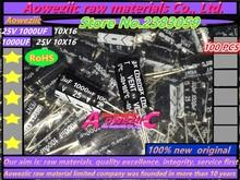 Aoweziic 100ピース25ボルト1000 uf 10*16高周波低抵抗液晶電解コンデンサ1000 uf 25ボルト10 × 16