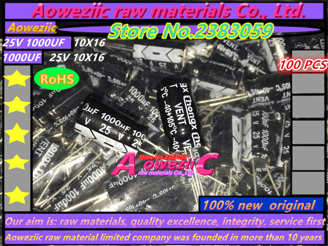 Aoweziic  100 PCS  25V 1000UF 10*16 high frequency low resistance liquid crystal electrolytic capacitor 1000UF 25V 10X16