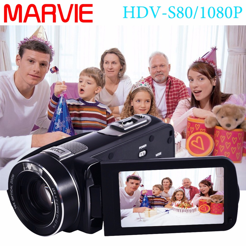 Marvie Free Shipping 10x Optical Zoom HD Digital 1080P FHD Video Camera Camcorder Night Vision 1X Digital Zoom Remote Control 1
