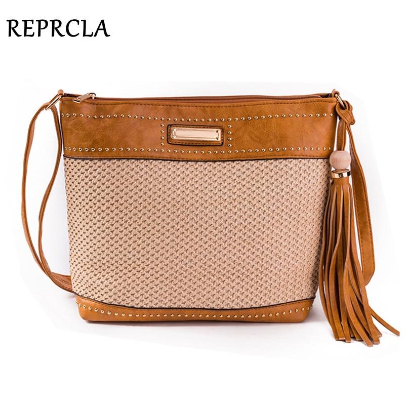 REPRCLA 2018 Summer Straw Bag Tassel Women Beach Bag Large Vintage Shoulder Bag for Women Messenger Bags Handbag Bolsa beige tassel detail straw shoulder bags