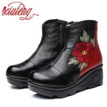 Xiutengサイズ 35 40 2020 新アンクル女性のブーツ冬の刺繍靴女性屋外西部フラットヒール女性プラットフォームブーツ