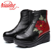 Xiuteng Size 35 40 2020 New Ankle Womens Boots Winter Embroidery Shoes Woman Outdoor Western Flat Heels Female Platform Boot