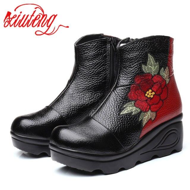 Xiuteng bottines dhiver pour femmes, chaussures avec broderie, talons plats occidentaux à plateforme, tailles 35 40, nouvelle collection 2020