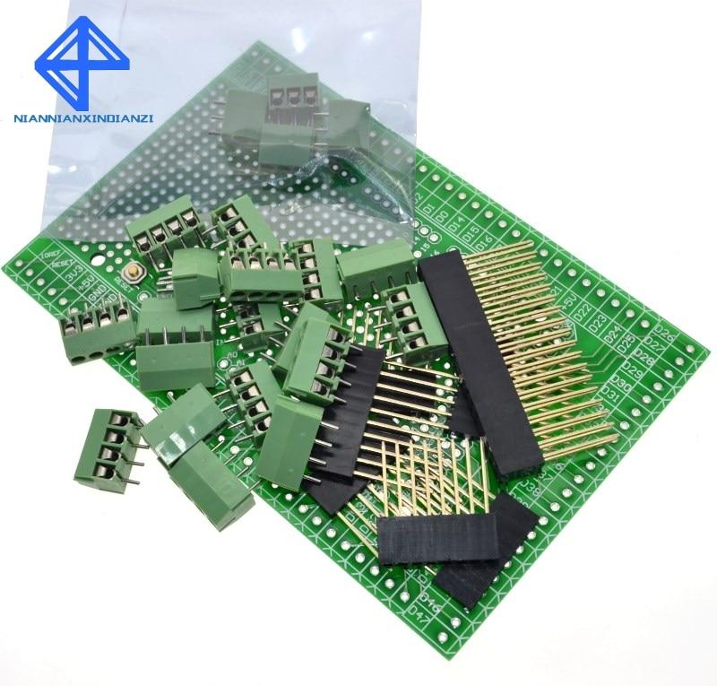 Double-side PCB Prototype Screw Terminal Block Shield Board Kit For MEGA-2560 Mega 2560 R3 Mega2560 R3Double-side PCB Prototype Screw Terminal Block Shield Board Kit For MEGA-2560 Mega 2560 R3 Mega2560 R3