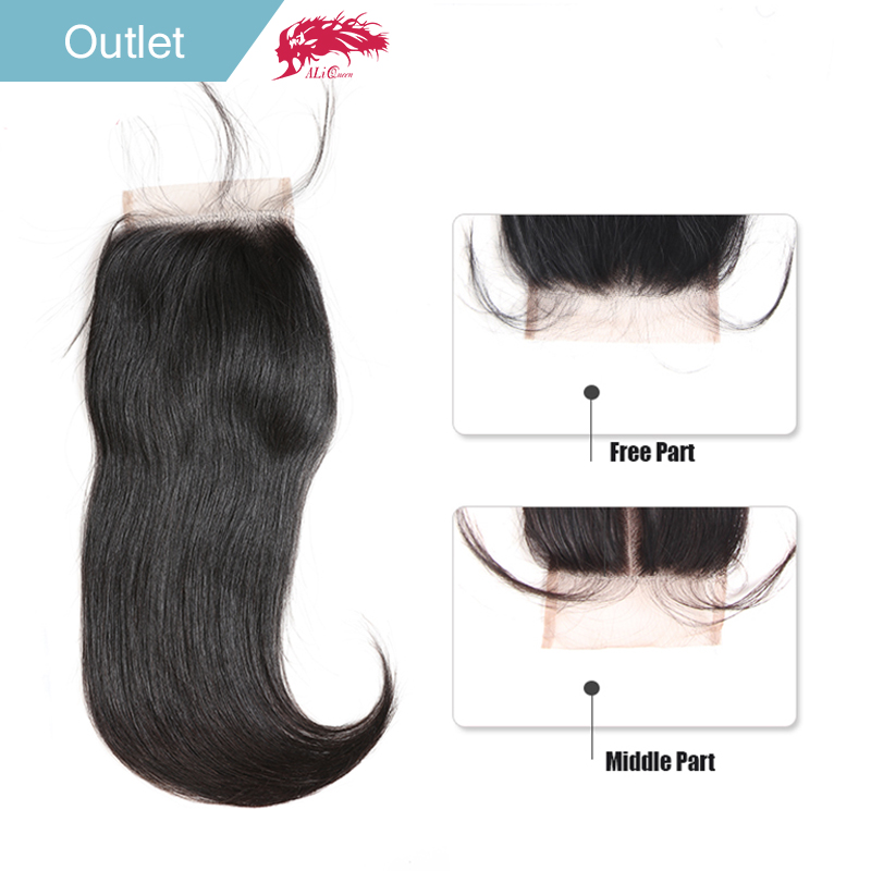 Ali Queen Hair Brazilian Straight Lace Closure 4 * 4 Naturlig Farve 100% Remy Hair Closure Free Part / Middle Part 10 til 20inch