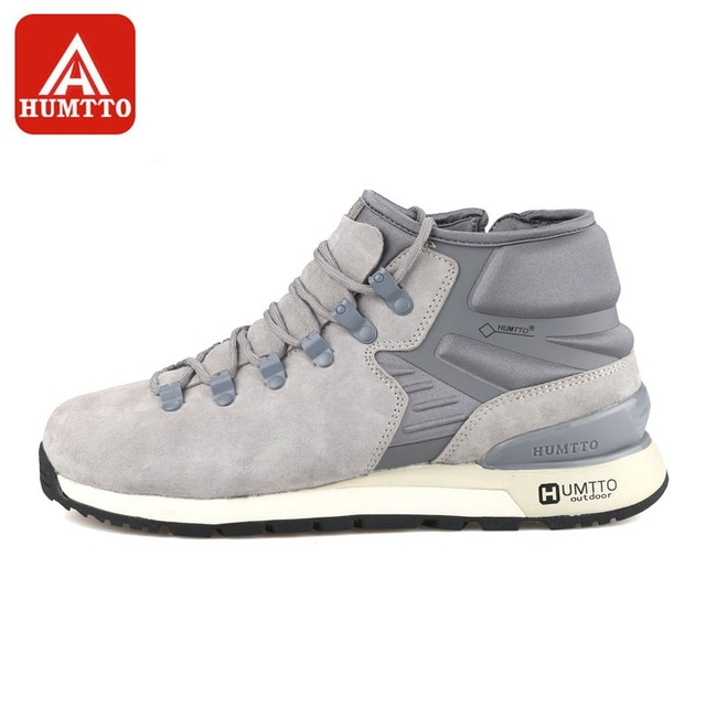 HUMTTO Hiking Shoes Men's Sneakers Breathable Genuine Leather New Design Warm Cushion Lace-Up Sport Shoes Outdoor Athletic