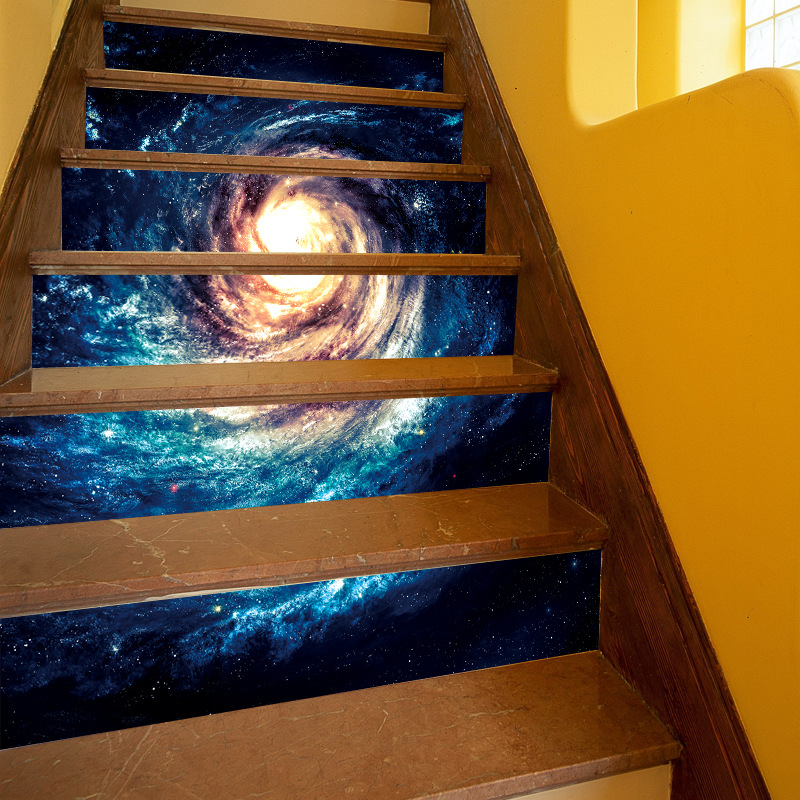 Space Nebula Peel And Stick Tile Backsplash Stair Decals Stair Riser  Refurbished Stair Treads Decals Removable Waterproof Stair In Wall Stickers  From Home ...