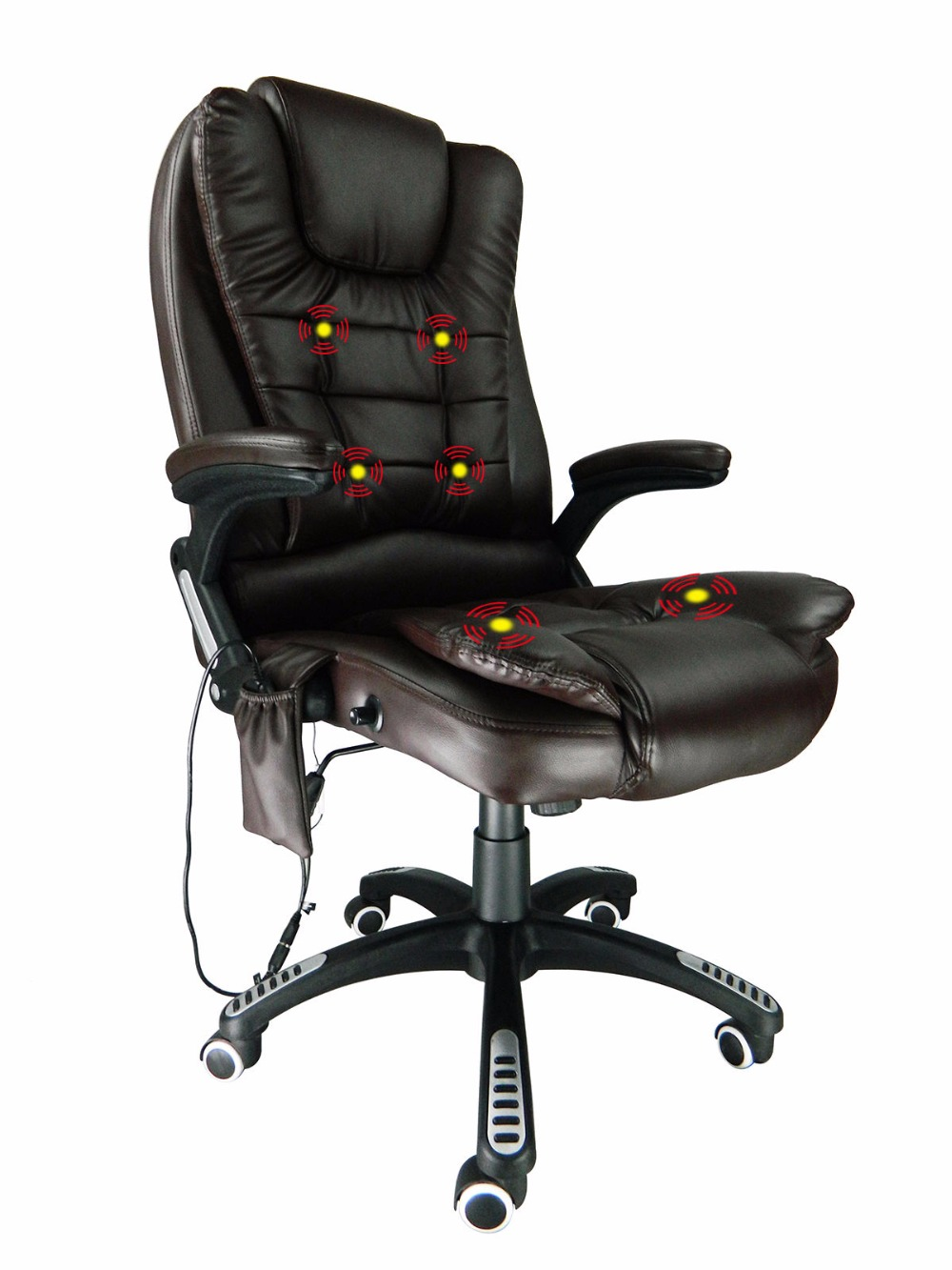 swivel office chair reclining leather 6 point massage. Black Bedroom Furniture Sets. Home Design Ideas
