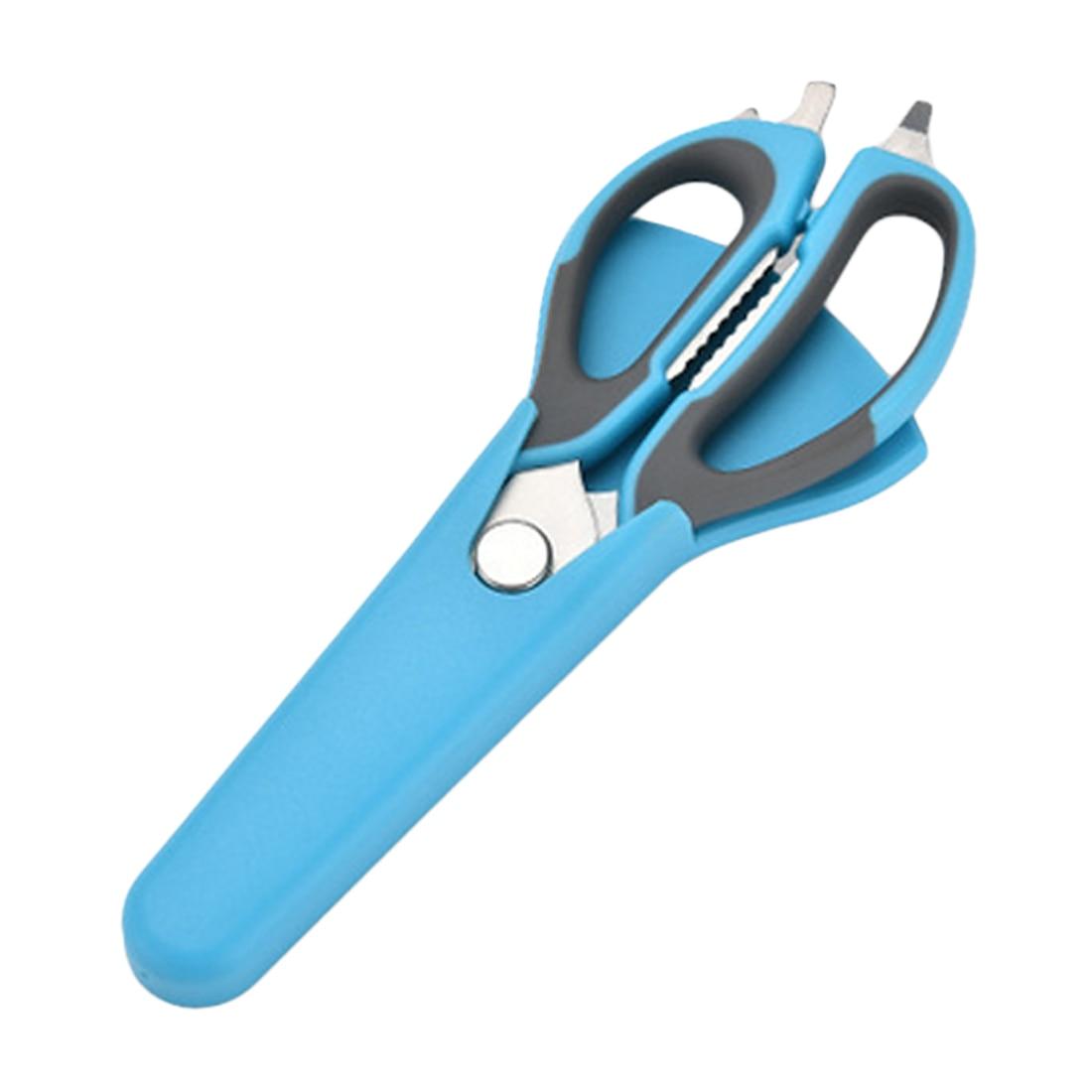 2 в 1 многофункциональная Кухня инструменты Нержавеющая сталь Heavy Duty Кухня ножницы с магнитным держателем куриные ножницы для костей - Цвет: Blue Gray