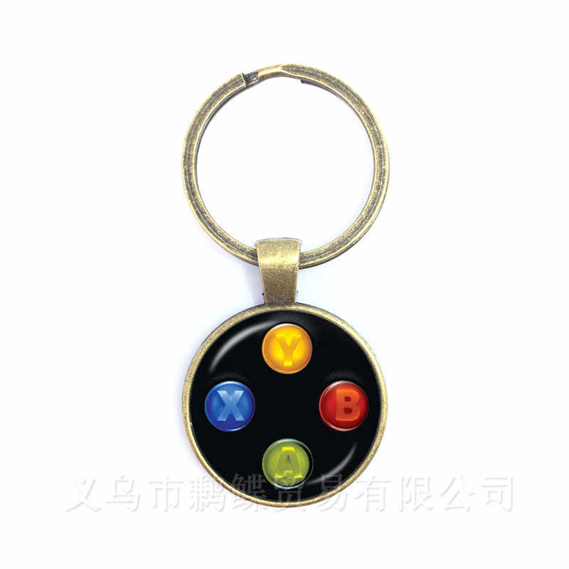 Creative Jewelry Art Picture Keychain Geeky Perfect Gift Idea Men Video Game Controller Man 25mm Glass Dome Keyring