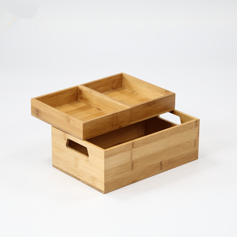 Bamboo Waterproof Bathroom Table Organizer Brief Design