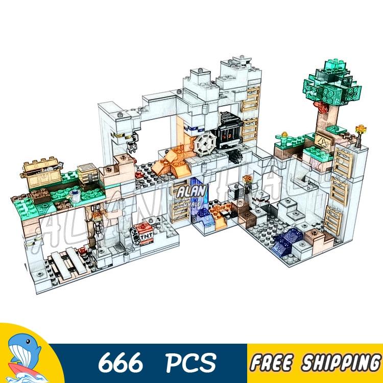 666 pièces mon monde le socle aventures Overworld Mine 10990 modèle blocs de construction enfants briques compatibles avec Lego Minecrafted