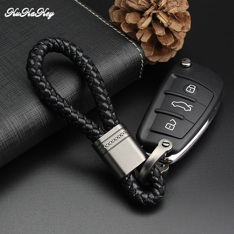 KUKAKEY Hand Woven Car Key Chain Rings Fob For Hyundai Solaris I30 IX35 Tucson Accent Getz Mistra Gray Auto Car Keychain Keyring
