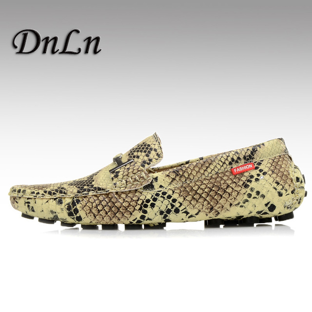 0ecf93e9b61 Gold Sliver Men s Flats Snake Print Driving Shoes Male Casual Loafers Shoes Men  Slip On Moccasins D50