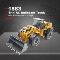 HUINA TOYS 1583 1/14 10CH Сплав RC бульдозер грузовик с фронтальным погрузчик конструирование грузовика строительство игрушечная машинка RTR