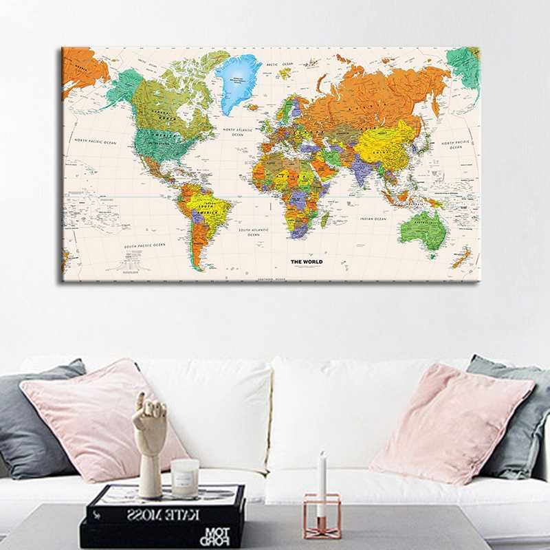 Canvas Painting Oil Painting Print On Canvas Home Decor Wall Art Wall Picture For Living Room Vintage World Map