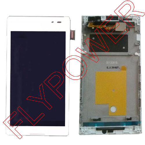 White LCD Display Touch Screen with Frame and Digitizer Assembly For Sony For Xperia C S39H C2304 / C2305 LCDs By Free Shipping vibe x2 lcd display touch screen panel with frame digitizer accessories for lenovo vibe x2 smartphone white free shipping track