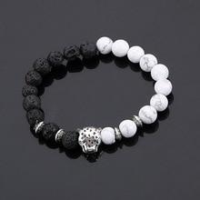 Natural Stones Silver Plated Buddha Leopard head Bracelet Lava Beaded Bracelets For Men Women Wrap Jewelry