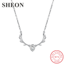 SHEON Cute Animal Pendant 925 sterling silver Christmas Moose Antlers Necklace With CZ For Women Fashion Sterling Silver Jewelry