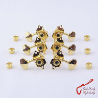 1Set 3R 3L Genuine Vintage Grover Guitar Machine Heads Tuners Golden Without Original Packaging