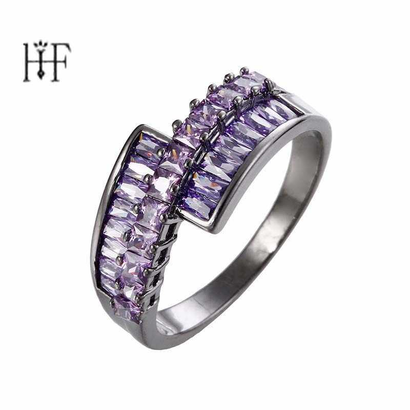 Boho Pink/Purple Stone Cubic Zircon Jewelery Men Women Engagement Rings Luxury Bague Femme Wedding Party Jewelry Rhodium Anillos