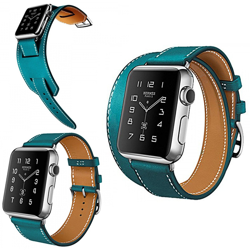 ФОТО ZLIMSN Leather Watchbands For Iwatch Watch Strap Band Bracelet Watch Double Ring Replacement Relojes Hombre 2017