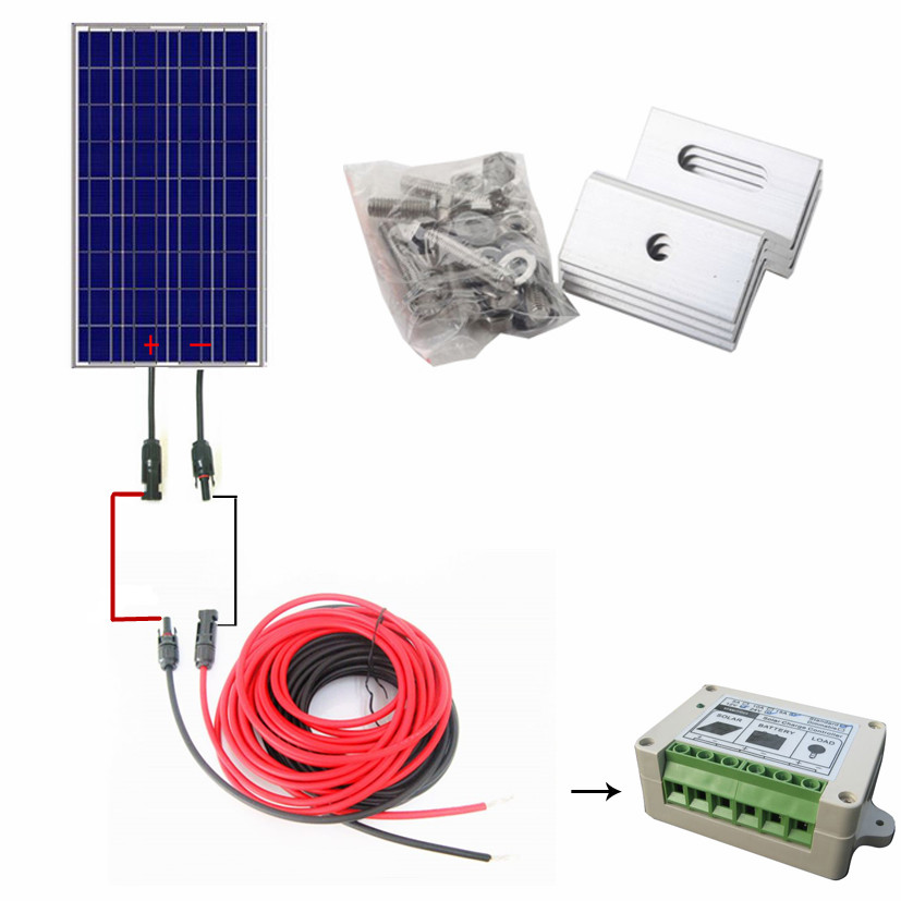 COMPLETE KIT 100W Solar Panel Cells Off Grid System with Controller Cable