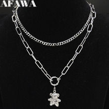 2019 Punk Stainless Steel layered necklace Women Silver Color Bear Necklace Jewelry acero inoxidable joyeria mujer N19170 цена