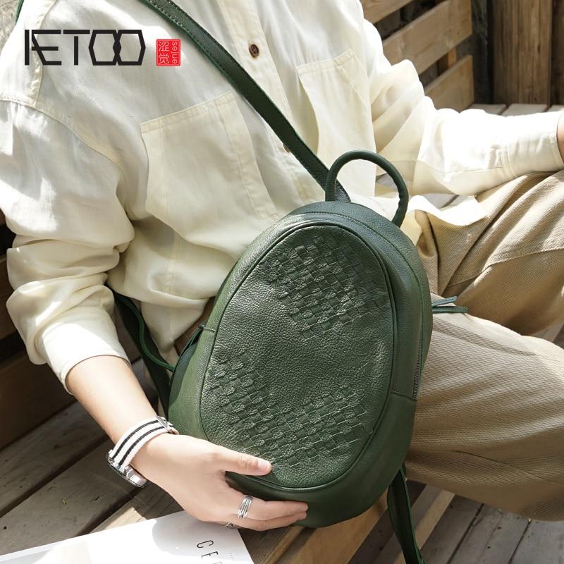 AETOO Retro แฟชั่นขนาดเล็ก handmade เก่า cowhide กระเป๋าหนังผู้หญิงทอ, อินเทรนด์สบายๆกระเป๋าเป้สะพายหลัง-ใน กระเป๋าเป้ จาก สัมภาระและกระเป๋า บน   1