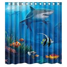 Under Sea Fish Shark Custom Bathroom Curtain Shower Waterproof Bathroom Shower Curtain Polyester Fabric 60(w)x72(h) High Quality цена