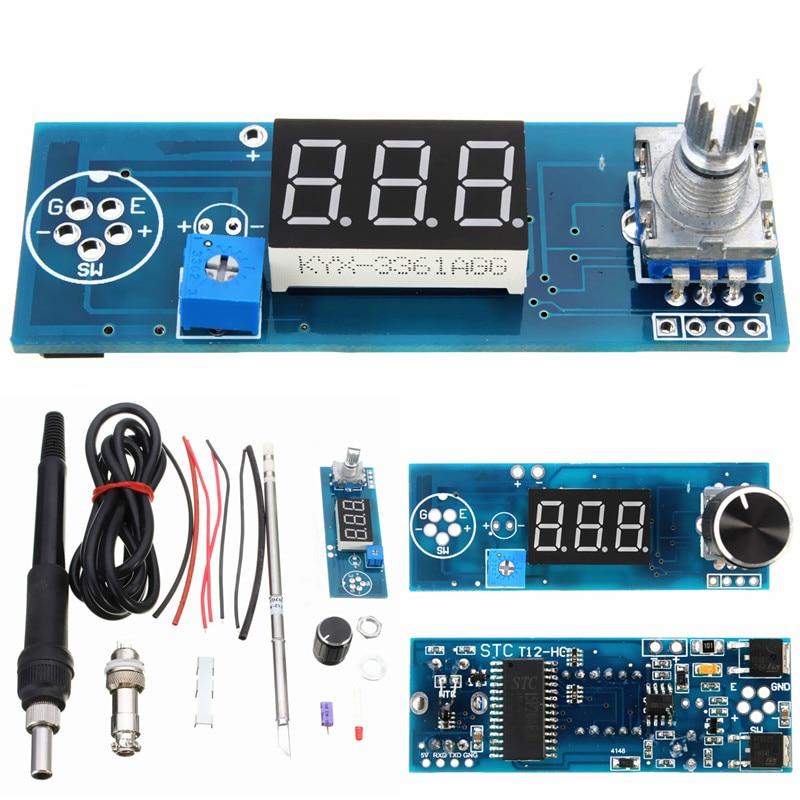 Hot DIY Elettrico Capacità di Unità di Base di Alta qualità Pratico Ferro Stazione di Saldatura Digitale Regolatore di Temperatura Kit T12 Maniglia