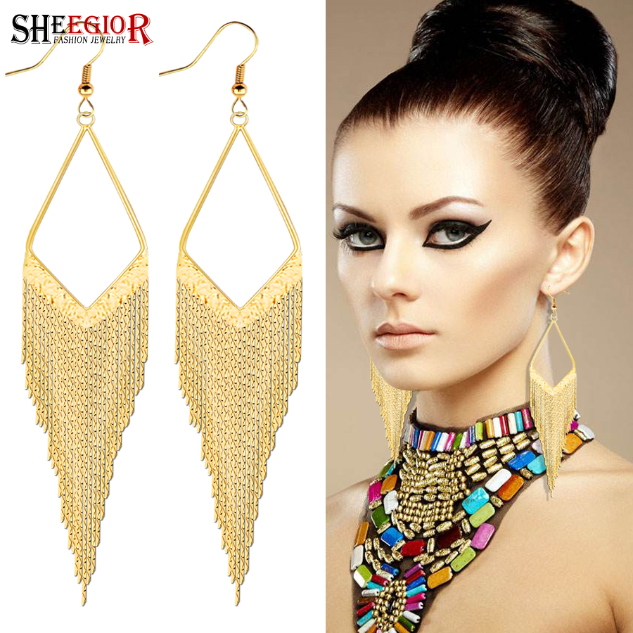 Lovely Long Dangle Earrings for Women Accessories Boho Gold/Silver Color Tassels Drop Earring Fashion Ornaments Friendship Gifts