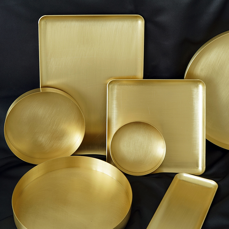 Cooking Food Tray for Hotel Bar Restaurant Cake Dessert Display Plates Brass Gold Cupcake Food Dishes for Tableware Dinnerware
