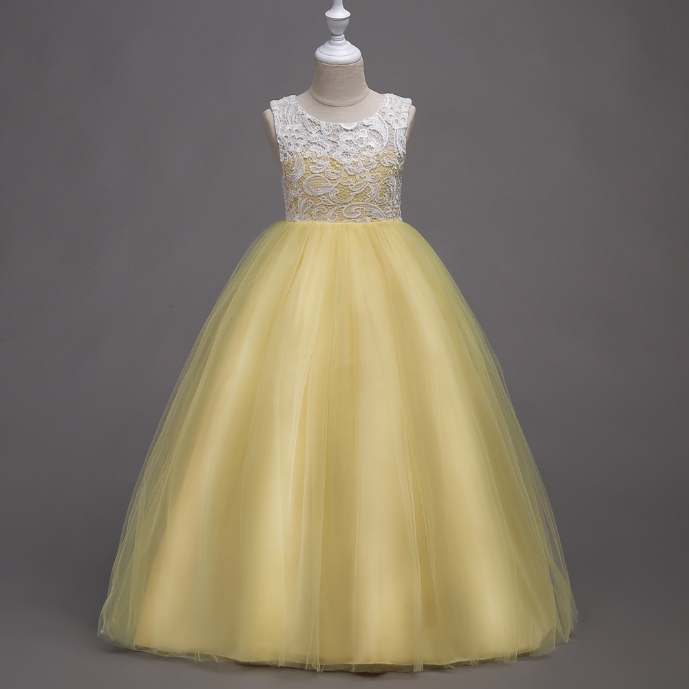 Formal Children Pageant Ball Gowns for Girls Cocktail Evening Clothes Kids Red Sky Blue Pink Lavender Yellow Dress Girl
