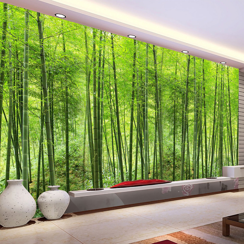 Nature landscape green bamboo forest photo mural for Wallpapering a wall
