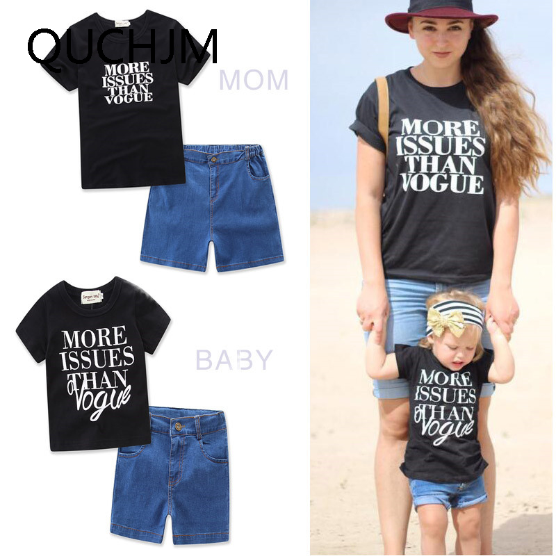 Family matching fashion mommy and daughter clothes family for Matching denim shirt and jeans