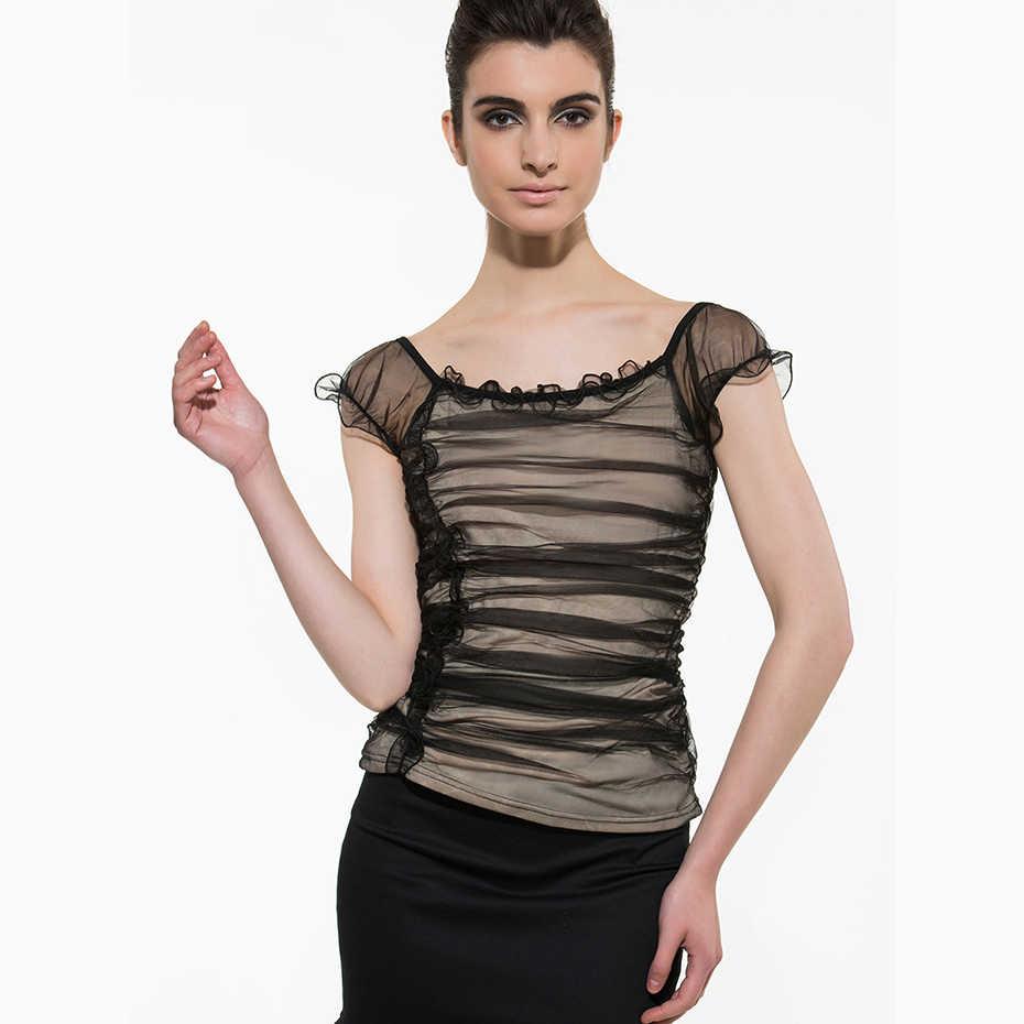 Femmes dentelle chemises 2018 chaud noir rouge mince belle volants Sexy hauts mode européenne mince élégant plissé en mousseline de soie Blouse
