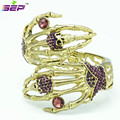 Vintage Style Palm Skeleton Skull Bracelets and Bangles Cuff w/ Purple Rhinestone Crystals Brand Free Shipping