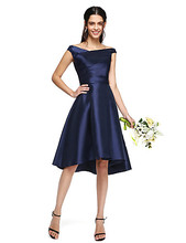 2017 Asymmetrical Bridesmaid Dresses Cheap Navy Blue Off-the-shoulder with Side Draping Wedding Party Dresses Custom Made